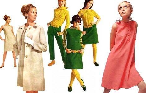 Фото Одежда 60-х. Справа - платье-трапеция на оегендарной Твигги